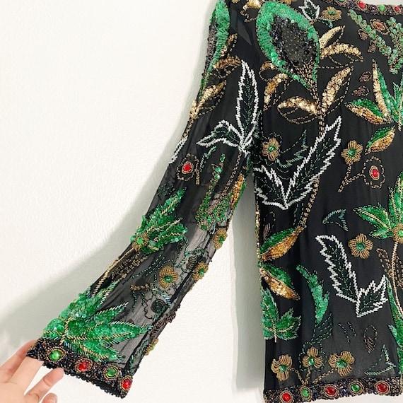 Vintage Nancy Miller Beaded Silk Blouse