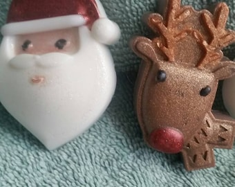 Christmas  Soap - Santa, Reindeer, Guest Soap, Holiday Soap, Gift Ideas, Kids Soap Teacher gifts, Stocking Stuffers, Cute Soaps,