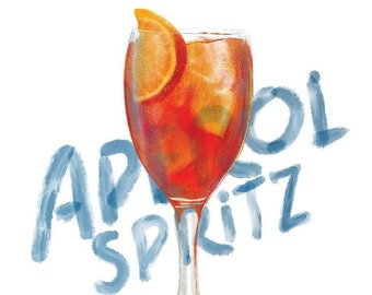 Aperol Spritz Cocktail Digital Illustration Art Print