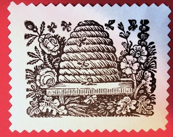 cards for spring gardening stamp flowers watering can bee skep stamp Stampin/' Around wheel and Spring Things stamp