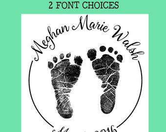 mounted rubber stamp baby shower  announcement stamp CMS #2 Baby Feet lg newborn footprints
