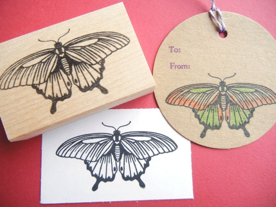 Authentic Butterfly Rubber Stamp Mounted Wood Block Art Stamp