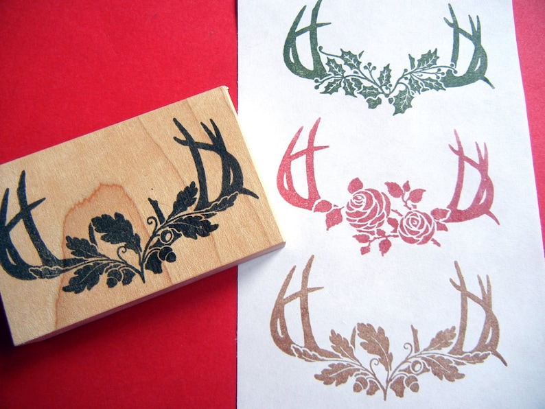 woodland wedding decoration stamp Antler Silhouette Stamp with Roses by Blossom Stamps Oak Leaves or Holly