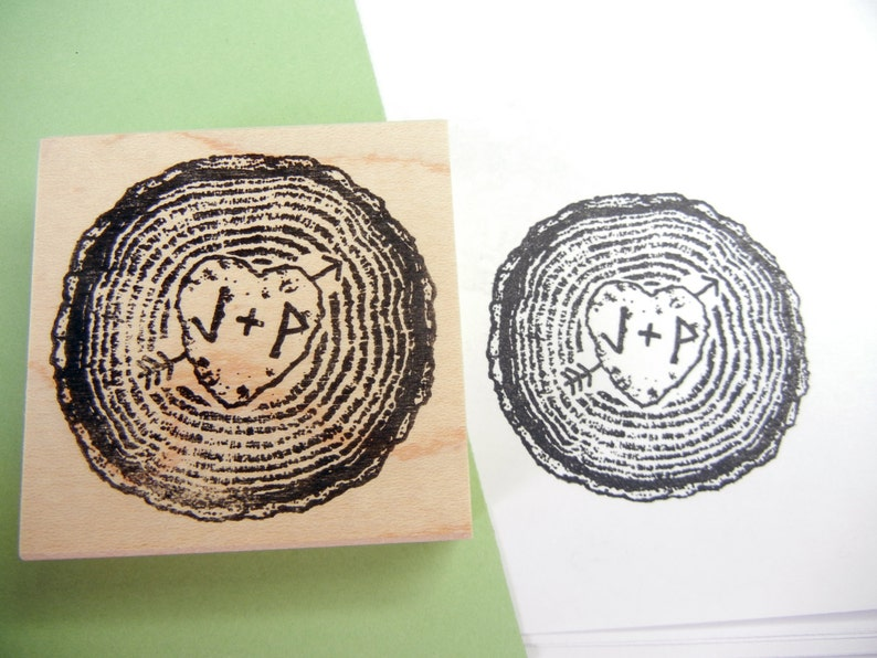 Handmade by Blossom Stamps Rustic Custom Wedding Save the Date Rubber Stamp   Wood Slice Tree Rings with Initials and Heart