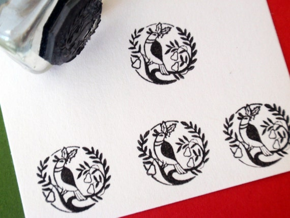 Christmas Partridge Bird Rubber Stamp for Tags, envelopes, stickers - Handmade by BlossomStamps