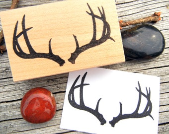 Antler Rubber Stamp, buck stamp, deer antler silhouette stamp, gift for hunter by Blossom Stamps