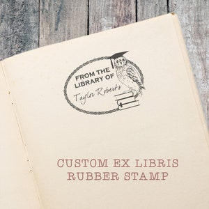 Owl In a Tree Stump Personalized Ex Libris Bookplate Rubber Stamp M13