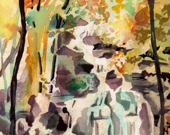 Watercolor Waterfall Art - Original Painting on Paper for Art Lover - Watercolor and Ink Landscape Art - Waterfall Painting Gorgeous Art
