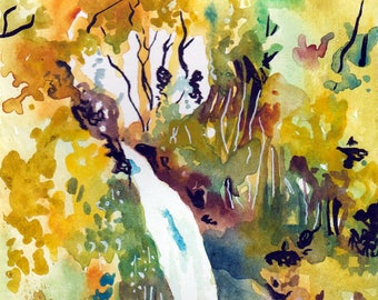Waterfall in New Zealand Watercolor and Ink Painting - Original Art of a New Zealand Waterfall - Waterfall Painting by Jen Tracy