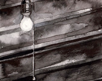 Ink Drawing of Light Bulb - Horror Story Art by Jen Tracy - No Sleep Podcast Original Illustration of Basement Bulb - Scary Halloween Art