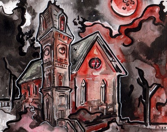 Creepy Art Blood Moon Painting - Horror Story Art Halloween - No Sleep Podcast Art Print - Creepy Church Under Full Moon - Scary Story Art