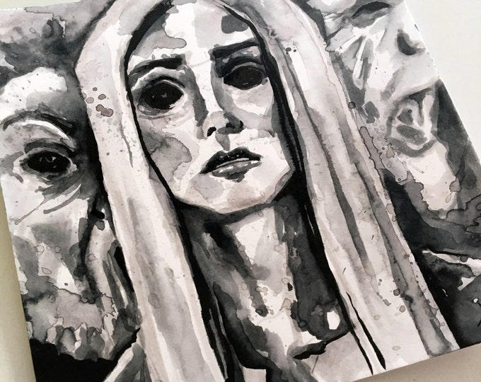 Featured listing image: Scary Print of Ghost Woman - Ink Horror Art Reproduction- The No Sleep Podcast Cover Art by Jen Tracy - Scary Story Art Print - Horror Print