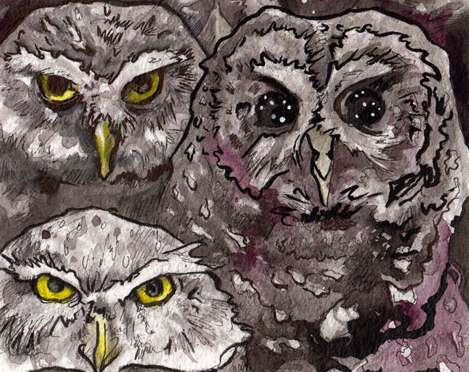 Featured listing image: Three Owls in Ink - Original Painting of Spooky Owls - Watercolor and Ink Owl Art - Painting of Owls by Jen Tracy for Horror Story