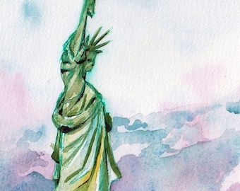 NYC Art - Statue of Liberty Art Print - Lady Liberty Art - Watercolor and Ink Print of American Landmark in New York City - American Artwork