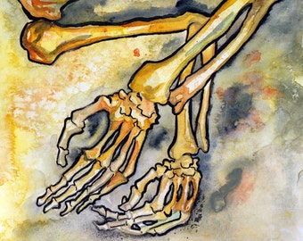 Macabre Print of Bones - Arm Bone Illustration - Reproduction Art from Horror Story - The No Sleep Podcast Print by Jen Tracy