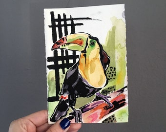 Painting of a Toucan by Artist Jen Tracy - Affordable Original Art - Art Under Fifty Dollars - Tropical Bird Painting in Watercolor Bird Art