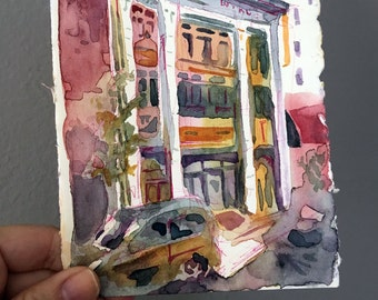 Watercolor Sketch of an Urban Landscape - Miami Security Building - Watercolor and Ink Painting on Cotton Paper - Small Affordable Painting