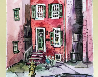 Art Print of a Brick House - Print of Watercolor City Painting - Gift for New Homeowner - Red Art - Watercolor Print Urban Sketch