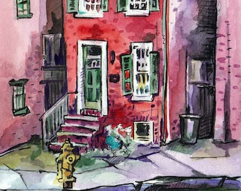 Watercolor Painting of a Brick House - Original Watercolor City Painting Art- Gift for New Homeowner - Red Art - Watercolor Urban Sketch