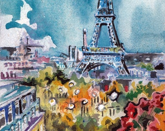 Paris Art Print - Eiffel Tower Painting - Original Watercolor of Paris by Jen Tracy - French Landscape Eiffel Tower Art - Gift for Traveler