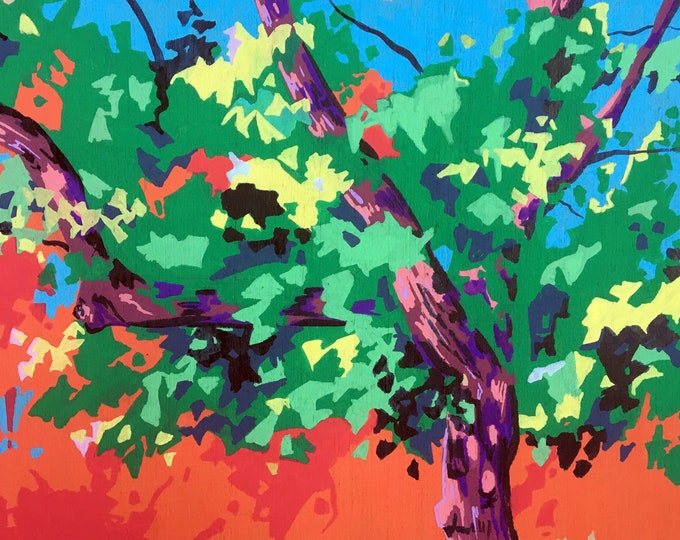 Featured listing image: Tree Painting Abstract - Original Painting on Wood - Paintings of Trees - Colorful Art - Home Decor Tree - Painting of Foliage against Sky