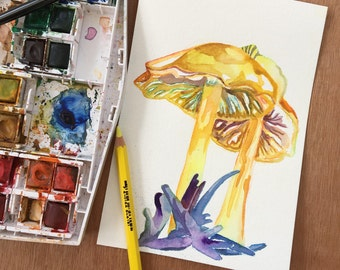 Watercolor Art of Golden Waxcap Mushrooms - Original Watercolor Painting by Jen Tracy - Yellow Mushroom Painting - Unique Gifts for Artists