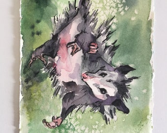 Possum Painting - Watercolor Art of Possum Hanging Upside Down - Upsidedown Cutie - Animal Watercolor Painting of Oposum - Cute Nursery Art