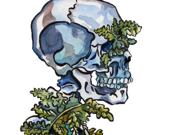 Painting of Bones with Plants in It Reproduction - Watercolor and Ink Skeleton - Wooly Lip Fern in Human Remains Art Print - Memento Mori