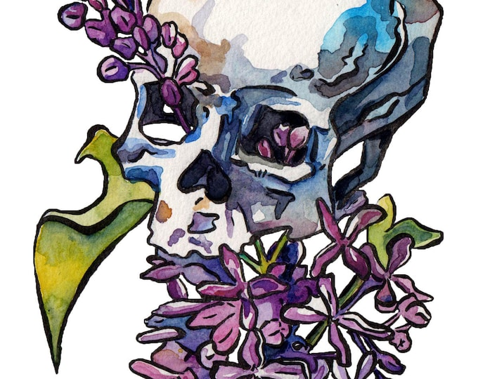 Featured listing image: Skull Painting - Lilacs in a Skeleton Art Print - Artsy Halloween Decoration - Flowering Skull Watercolor and Ink - Pretty Halloween Decor