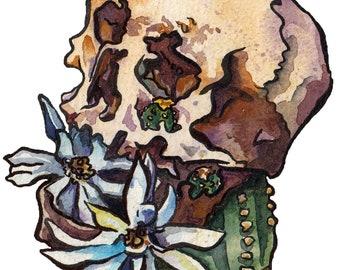 Cactus Art Print - Skull Painting with Flowers - Bones and Blooms Art Prints - Skeleton with Flowers Art - Watercolor Cactus Bloom Art