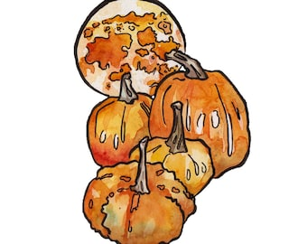 Full Moon Art Print - Watercolor Painting Reproduction of Harvest Moon - Pumpkin Art including Moon Art - Mystical Decor for a Witchy Gift