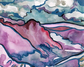 Purple Mountains Original Watercolor and Ink Painting on Paper by Artist Jen Tracy - Landscape Mountain Art with Clouds