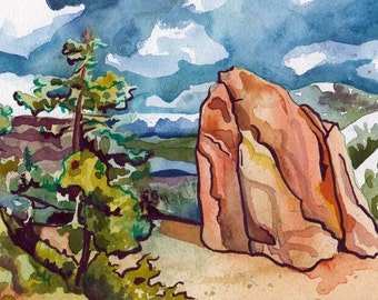 Watercolor and Ink Painting of a Rock on Donner Summit - Original Landscape Art - Natural Landscape Painted by Hand - Art Desert Landscape