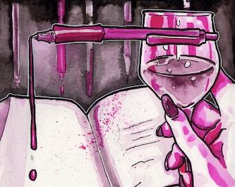 Sanguine Libations Ink Drawing- Horror Story Art - No Sleep Podcast Art Print - Scary Story Art - Dark Halloween Decoration Wine Art