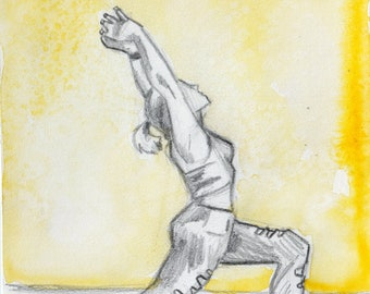 Pencil and Watercolor Drawing of Crescent Lunge Pose - Yoga Art - Original Art - Drawing of Yoga Pose Crescent Lunge Art for Yoga Studio