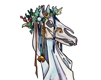 Mari Lwyd Christmas Tradition Print - Hobby Horse Art Reproduction - Folk Art Watercolor Wall Hanging - Small Print of Watercolor Painting