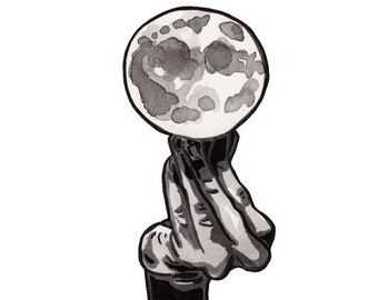 Hand Holding Moon Art Print - Ink Drawing Reproduction of Moon Balancing on Fingers - Moon Wall Decor Artist - Full Moon Art - Ink Print
