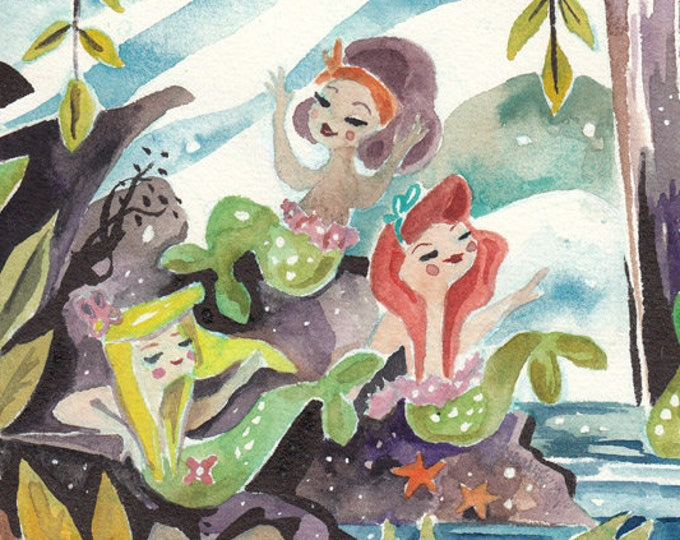 Featured listing image: Mermaid Lagoon Watercolor Art Print Inspired by Mary Blair - Peter Pan Neverland Art by Jen Tracy - Cute Art Print Kids Room - Nursery Art