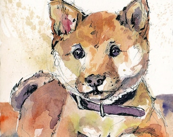 Watercolor Dog Pet Portrait -Such Doge Much Watercolor Wow - Shiba Inu Print - Dog Home Decor - Watercolor Shiba Inu - Doge Meme Art Prints