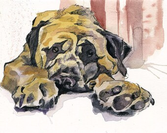 Dog Painting - Mastiff Art - Watercolor Painting of Pet - Dog Lover Gift - Original Puppy Painting - Pupper Paws - Pet Portrait Mastiff Dog