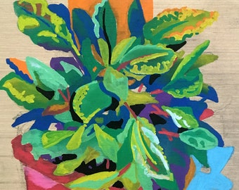 Plant Painting - Painting of Potted Plant - Gift for Gardener - Sage Painting Original Artwork - Colorful Still Life - Growers Friend Art