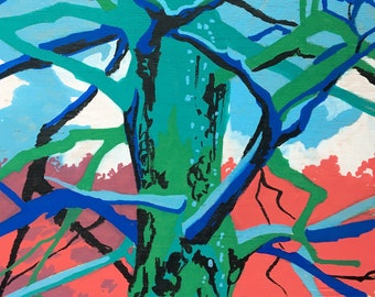 Tree Painting Abstract - Original Painting on Wood - Paintings of Trees - Colorful Art - Home Decor Pine Tree - Pine Tree Painting of Forest