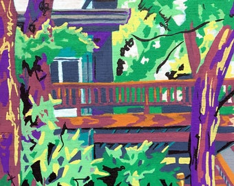 Unique Art on Wood - View from the Dock Painting - Rustic Decor - Colorful Painting of Vacation Home - Poconos Art - Gift for Travel Lover
