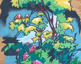 Original Painting on Wood - Painting of Flowers and Trees - Garden Art - Fun Unique Painting  - Gift for Gardener - Colorful Art for Home