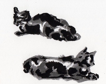 Original Inktober Drawing of Black Cat - Ink on Paper Drawing of Cat Rest - Cat Art - Black Cat Ink Drawing - Kitty Cat Decor for Home
