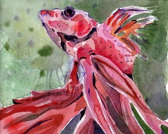 Fun Painting of Red Betta Fish - Original Watercolor on Paper Art - Underwater Art of Fish for Aquatic Nursery - Red Room Decor of Betta