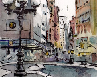 New York Cityscape - New York Watercolor Painting - Painting of Union Square - NYC Art - Original New York City Art - Urban Landscape