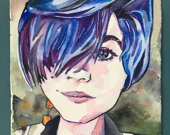 Blue Hair Don't Care - Watercolor Portrait of a Woman - Stylish Haircut Painted in Watercolor - Hair Salon Decor - Original Portrait Art