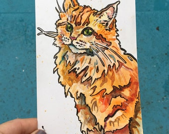 Orange Cat Art - Original Painting of a Kitty by Jen Tracy - Gift for Pet Lover - Watercolor and Ink Illustration