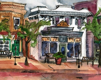 Reproduction Print of an Original Watercolor Painting - Across the Street Signed Print - Buildings - Ocean City New Jersey Plein Air Art